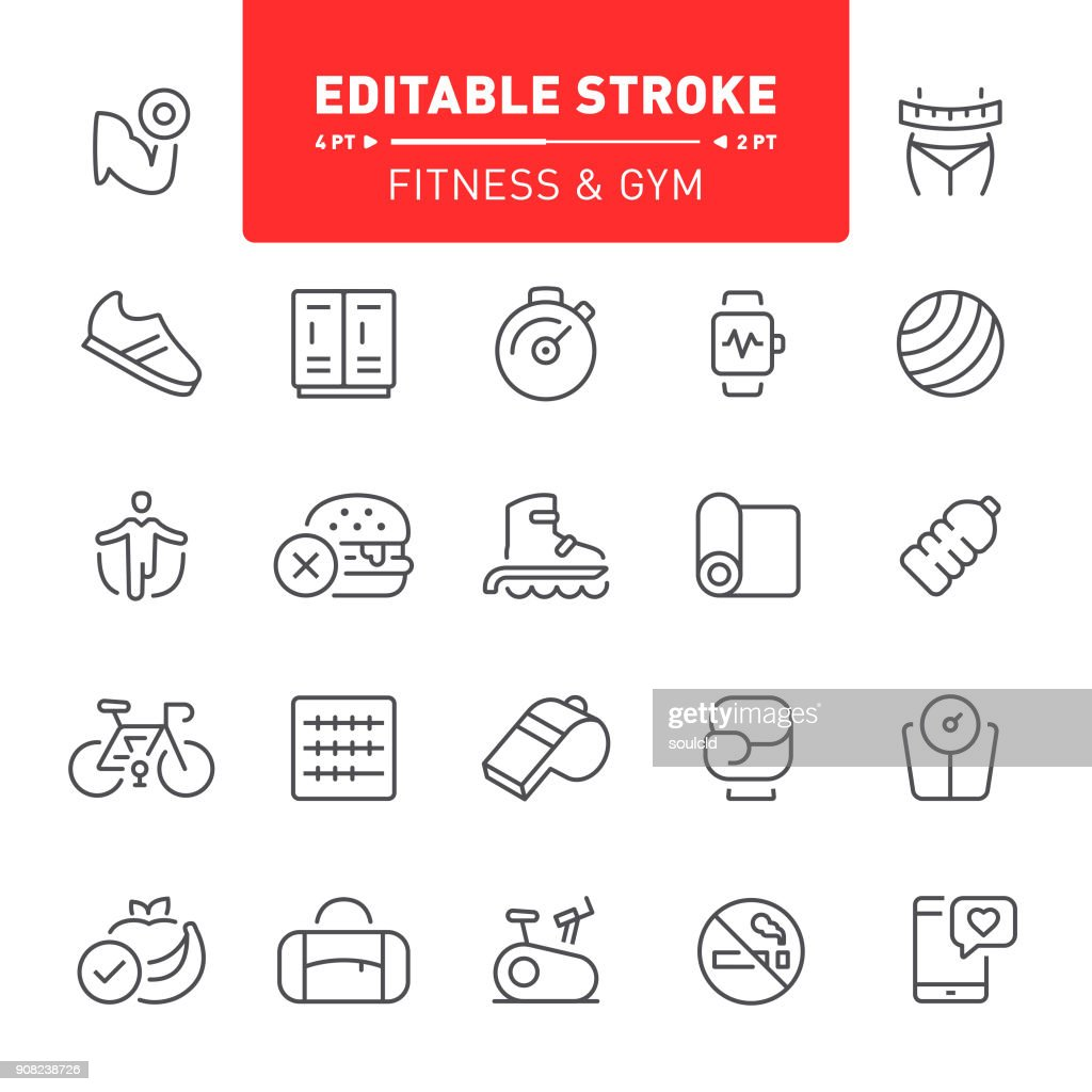 Fitness and Gym Icons : stock illustration
