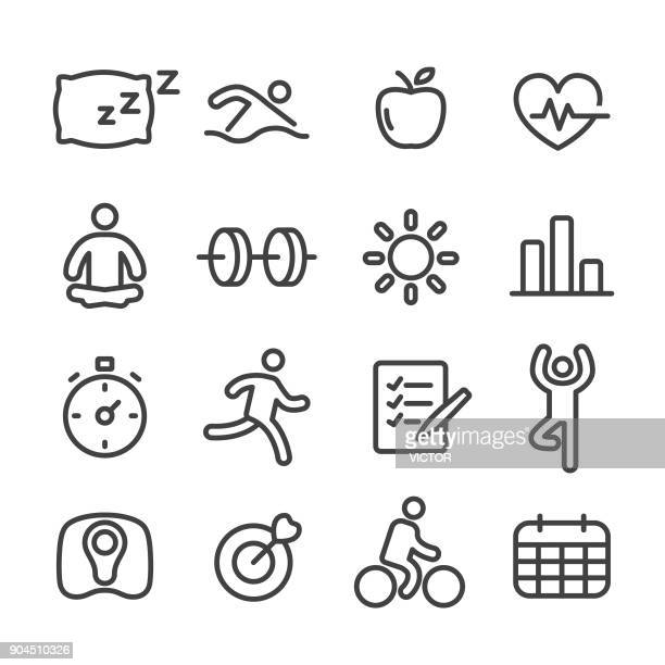 fitness and healthy icon - line series - weight training stock illustrations
