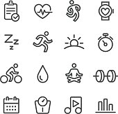 Fitness and Healthy Icons - Line Series