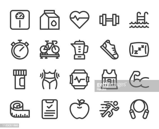 fitness and healthy life - bold line icons - sports shoe stock illustrations
