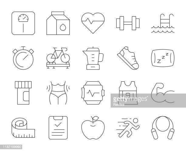 fitness and healthy life - thin line icons - tape measure stock illustrations