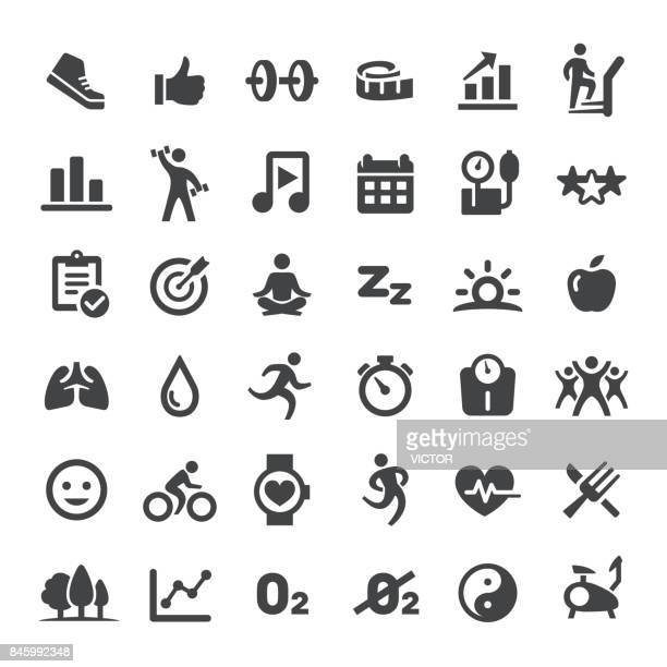 Fitness and Healthy Vector Icons