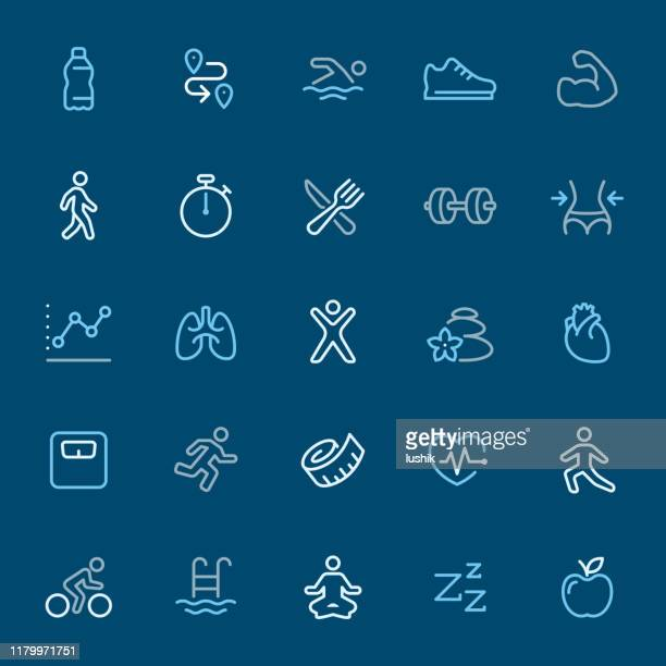 fitness and sport - color outline icons - water aerobics stock illustrations, clip art, cartoons, & icons