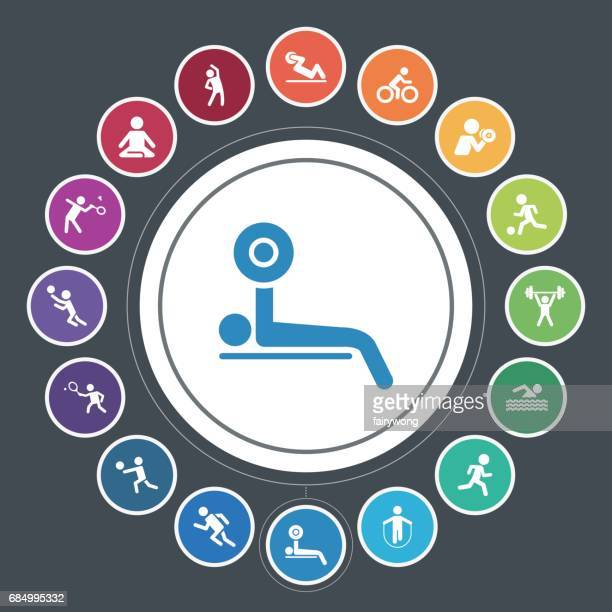 fitness and sport icons - badminton sport stock illustrations, clip art, cartoons, & icons