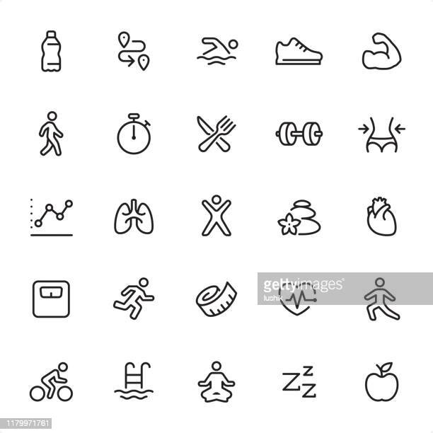 fitness and sport - outline icon set - water aerobics stock illustrations, clip art, cartoons, & icons