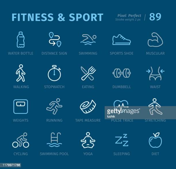 fitness and sport - outline icons with captions - water aerobics stock illustrations, clip art, cartoons, & icons