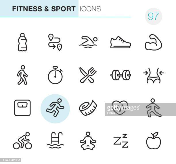 fitness and sport - pixel perfect icons - sleeping stock illustrations