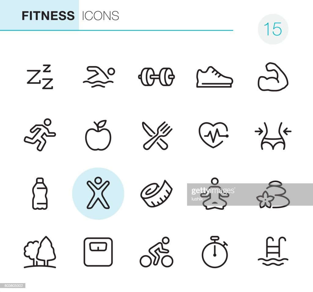 Fitness and Sport - Pixel Perfect icons : stock illustration