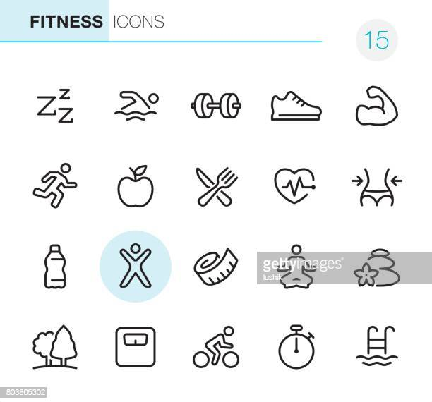 fitness and sport - pixel perfect icons - weight training stock illustrations