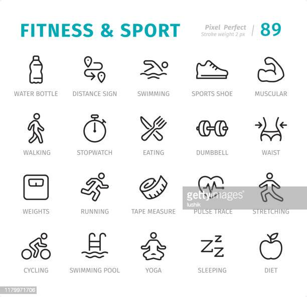 fitness and sport - pixel perfect line icons with captions - water aerobics stock illustrations, clip art, cartoons, & icons