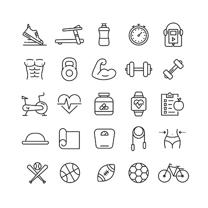 Fitness and Sports Related Vector Line Icons - gettyimageskorea