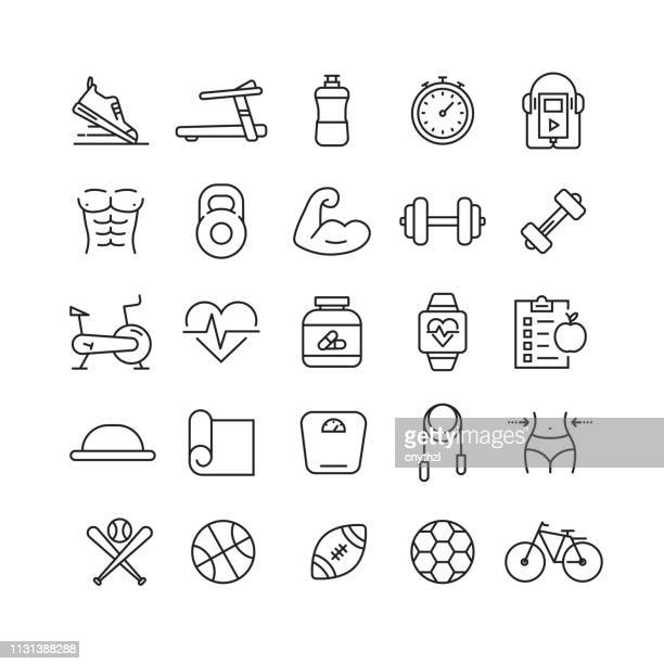 fitness and sports related vector line icons - healthy lifestyle stock illustrations