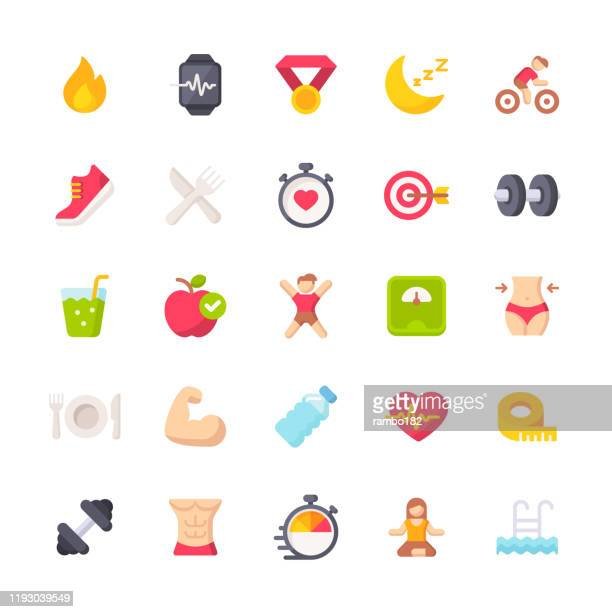 fitness and workout flat icons. material design icons. pixel perfect. for mobile and web. contains such icons as bodybuilding, heartbeat, swimming, cycling, running, diet. - healthy eating stock illustrations