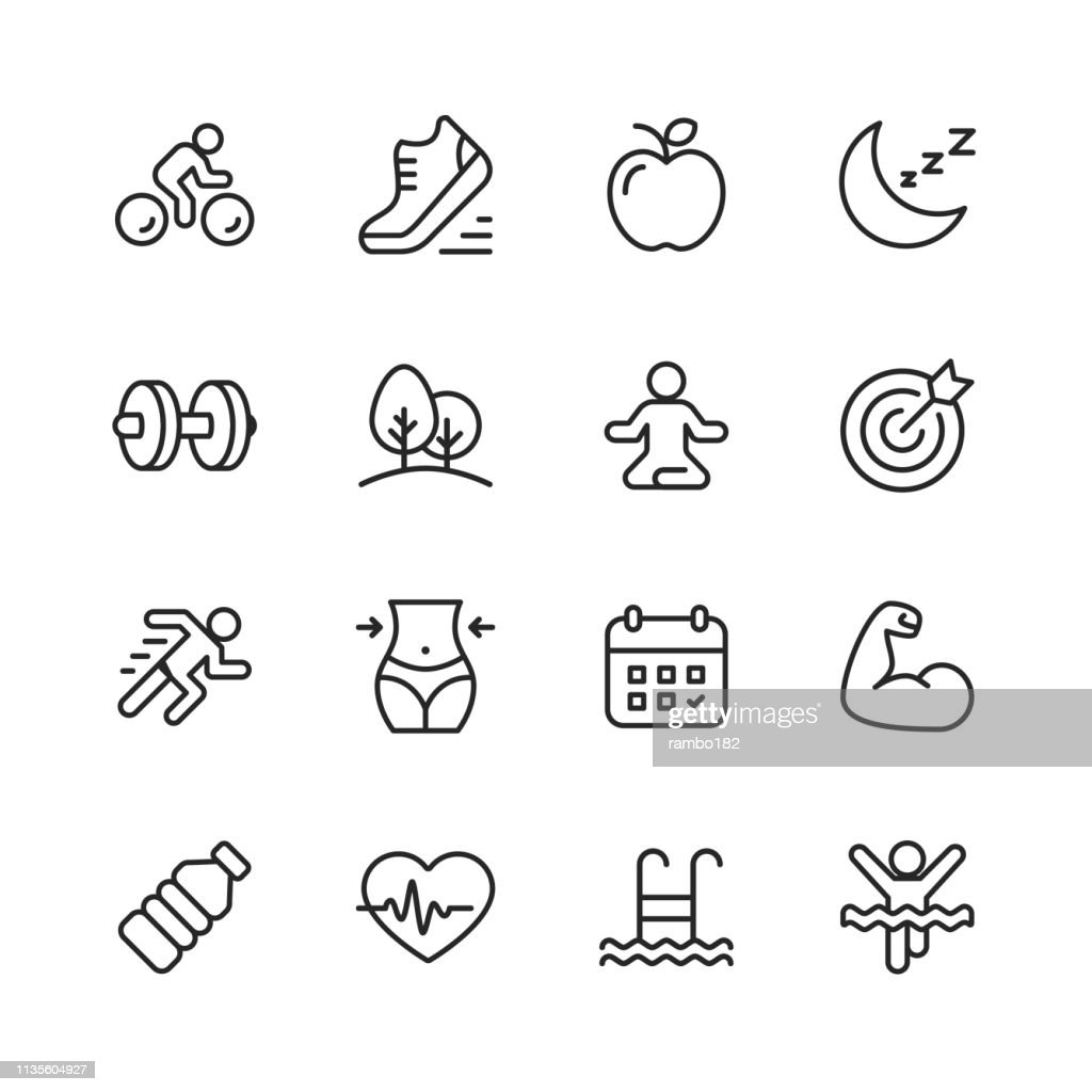 Fitness and Workout Line Icons. Editable Stroke. Pixel Perfect. For Mobile and Web. Contains such icons as Running, Swimming, Exercising, Gym, Diet. : Stock Illustration
