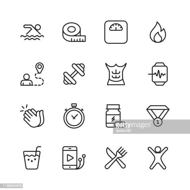 fitness and workout line icons. editable stroke. pixel perfect. for mobile and web. contains such icons as running, swimming, exercising, gym, diet. - smart watch stock illustrations