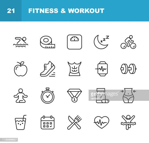 fitness and workout line icons. editable stroke. pixel perfect. for mobile and web. contains such icons as fitness, workout, swimming, cycling, running, diet. - healthy lifestyle stock illustrations