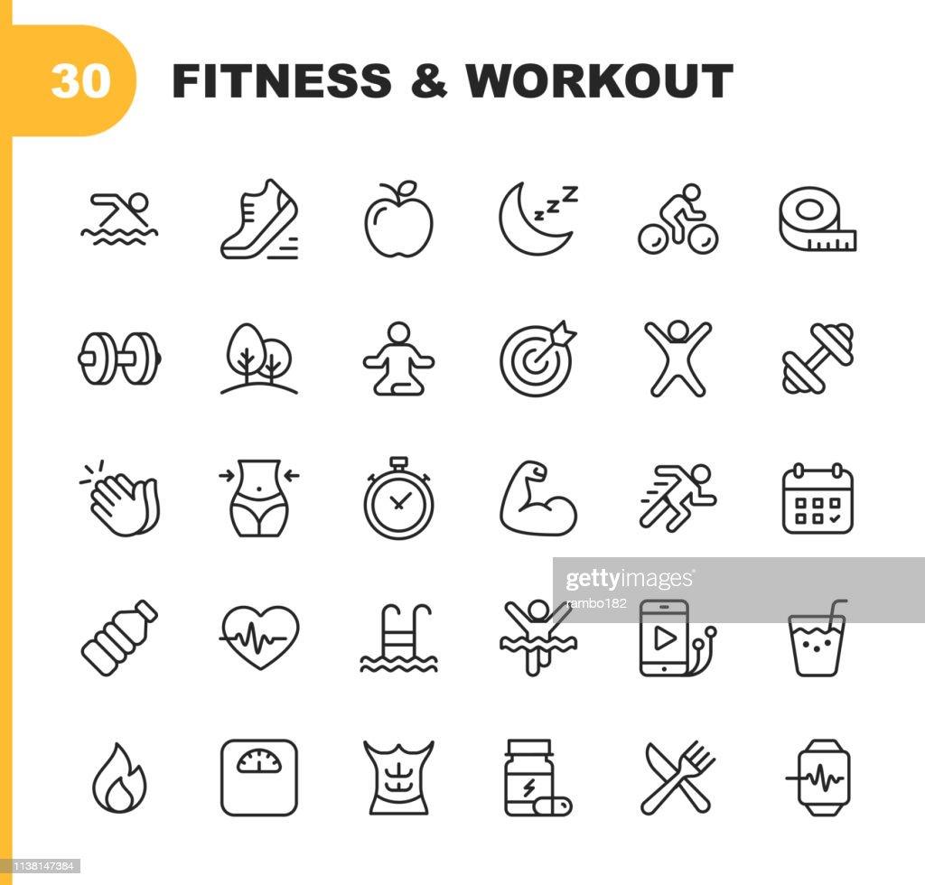 Graphismes de ligne de fitness et d'entraînement. Contour modifiable. Pixel parfait. Pour mobile et Web. Contient des icônes telles que la musculation, battement de coeur, natation, cyclisme, en cours d'exécution, régime. : Illustration