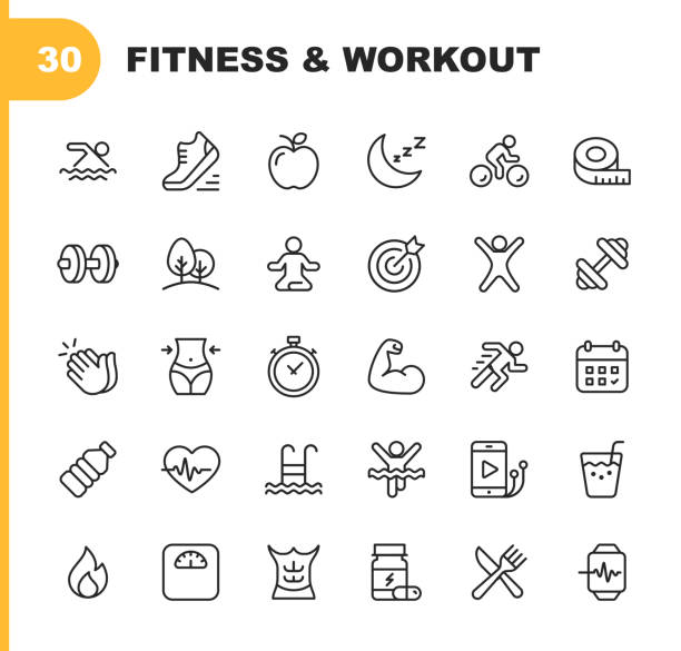 fitness and workout line icons. editable stroke. pixel perfect. for mobile and web. contains such icons as bodybuilding, heartbeat, swimming, cycling, running, diet. - vector stock illustrations