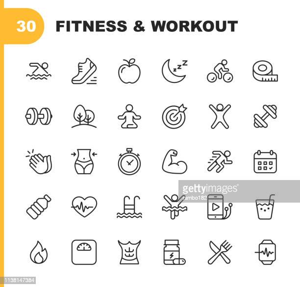 fitness and workout line icons. editable stroke. pixel perfect. for mobile and web. contains such icons as bodybuilding, heartbeat, swimming, cycling, running, diet. - wellbeing stock illustrations