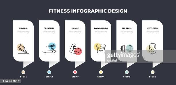 fitness and workout related line infographic design - sports round stock illustrations
