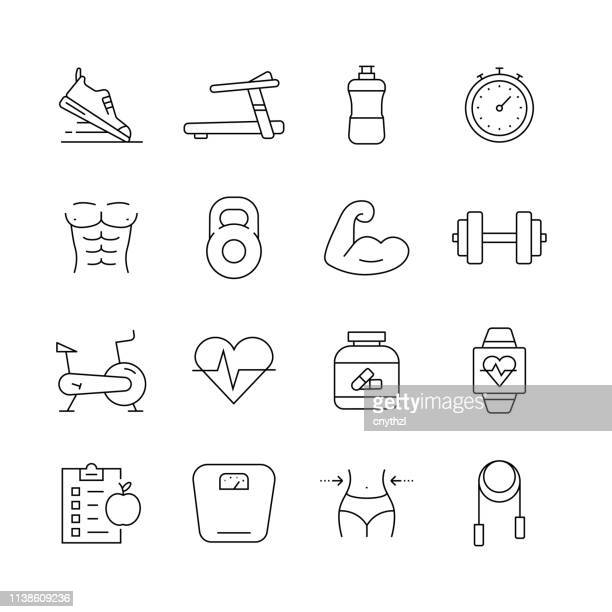 fitness and workout - set of thin line vector icons - body conscious stock illustrations, clip art, cartoons, & icons