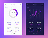 Fitness app. UI design concept with web elements of workout application for mobile and tablet devices