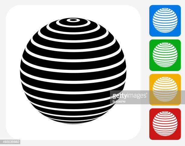 ilustraciones, imágenes clip art, dibujos animados e iconos de stock de pelota de ejercicio de iconos planos de diseño gráfico - pilates