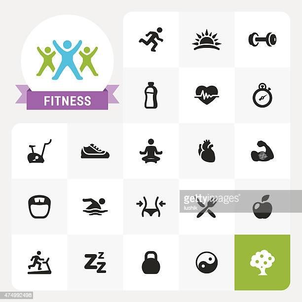 fitness base vector icons and label - lotus position stock illustrations, clip art, cartoons, & icons
