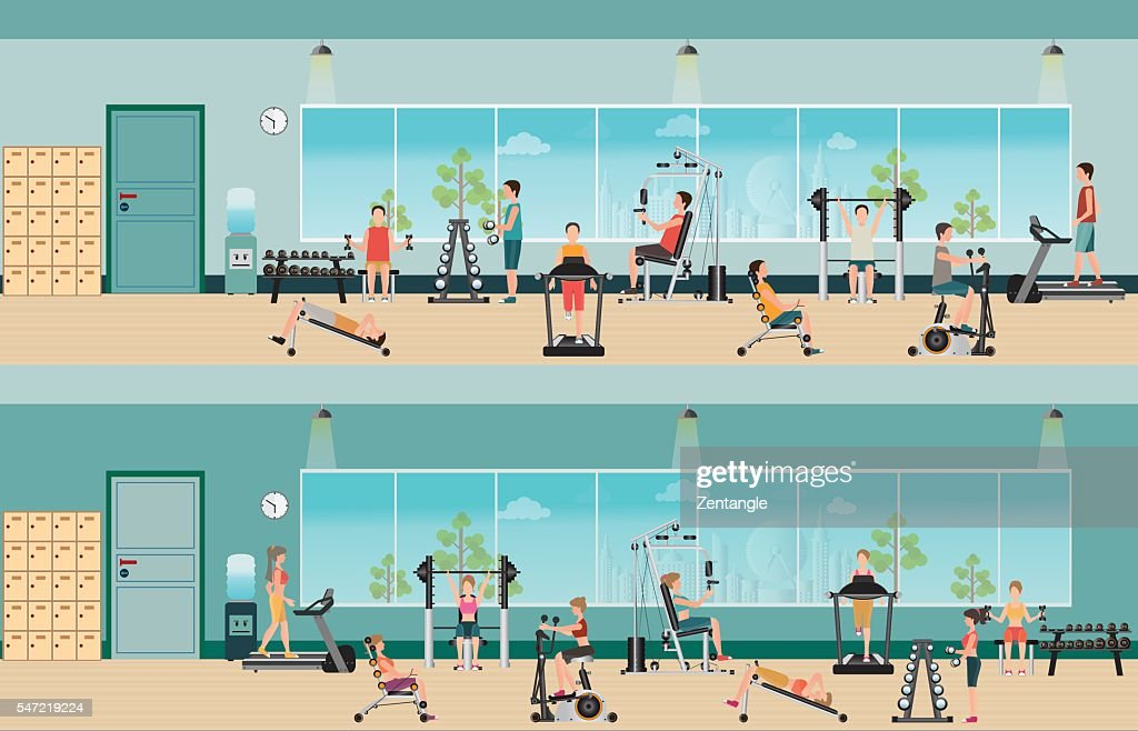 Fitness cardio exercise and equipment with people in fitness gym interior