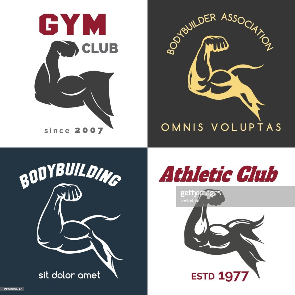 Fitness center icon set