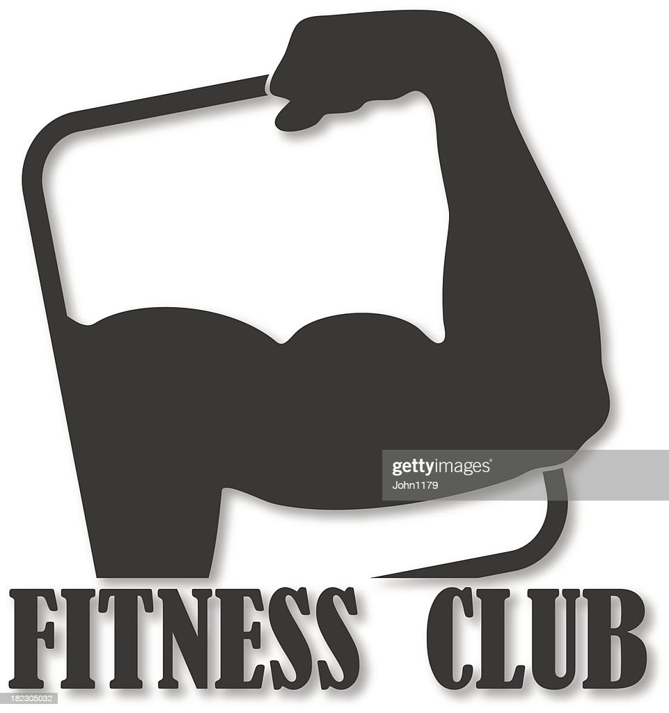 Fitness club design with a mans muscle arm