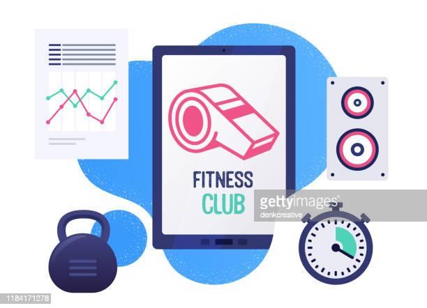 fitness club vector illustration banner design - whistle stock illustrations