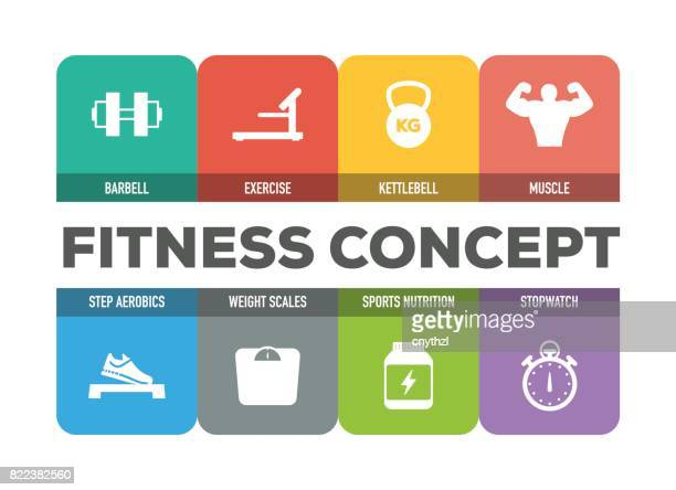 fitness concept colorful icons set - fitness tracker stock illustrations, clip art, cartoons, & icons