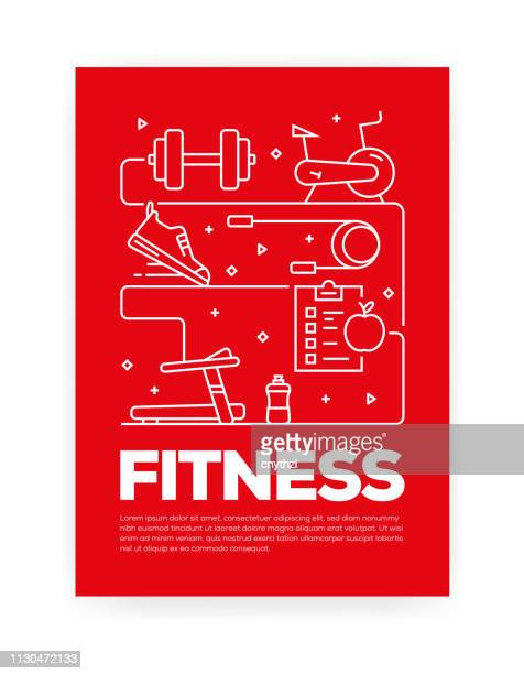 fitness concept line style cover design for annual report, flyer, brochure. - leisure facilities stock illustrations, clip art, cartoons, & icons