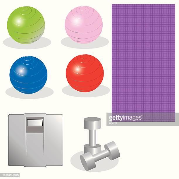 ilustraciones, imágenes clip art, dibujos animados e iconos de stock de ejercicio juego de diseño - pilates