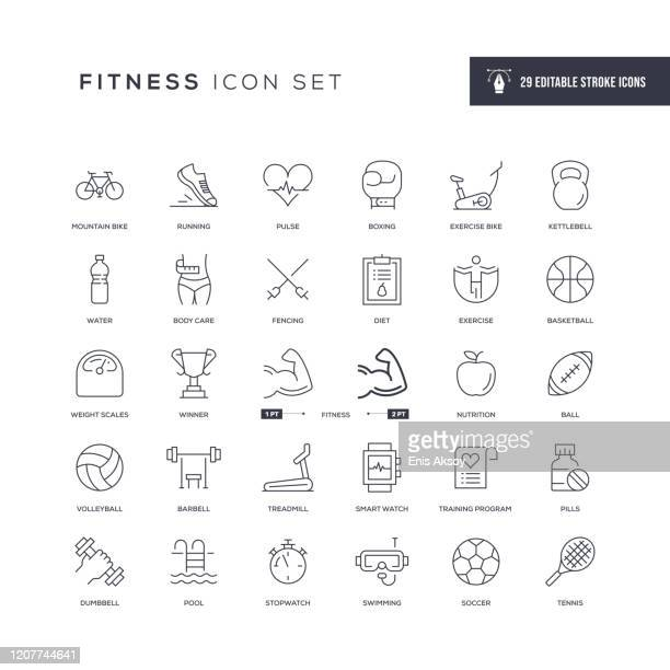 fitness editable stroke line icons - competition stock illustrations