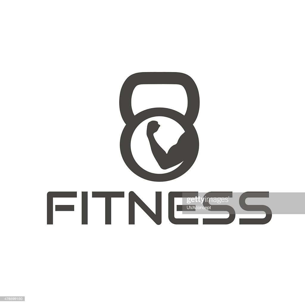 fitness emblem with muscle and kettlebell