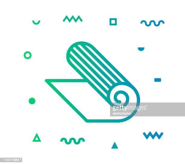 ilustraciones, imágenes clip art, dibujos animados e iconos de stock de fitness estilo línea de ejercicio icono diseño - pilates