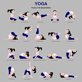 Fitness exercises with cartoon girl in blue and white suit isolated on gray background