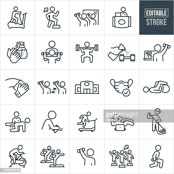 fitness facility and disinfecting thin line icons - ediatable stroke - gym stock illustrations