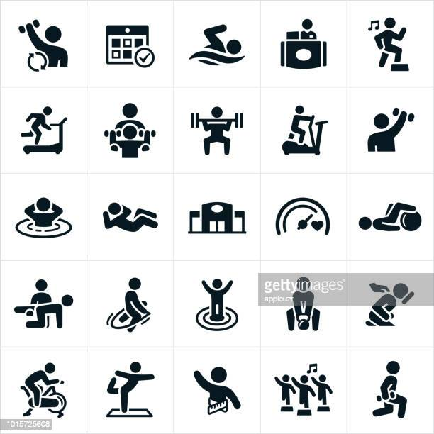 fitness facility icons - weight training stock illustrations