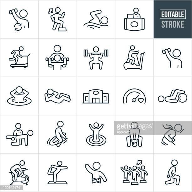 illustrazioni stock, clip art, cartoni animati e icone di tendenza di icone della linea sottile della struttura fitness - ediatable stroke - sport