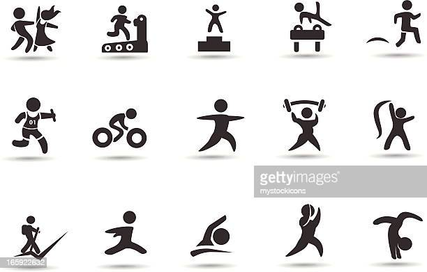 fitness figures icons - gymnastics stock illustrations, clip art, cartoons, & icons