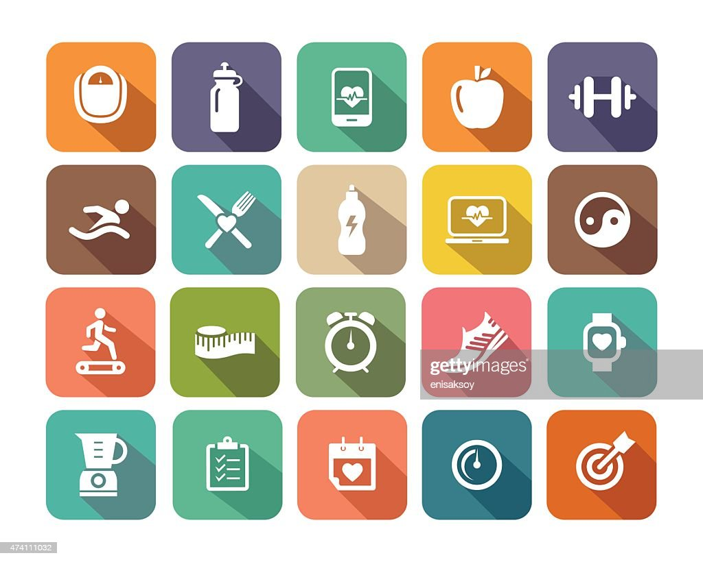 Fitness flat icons set for Web and Mobile Applications : stock illustration