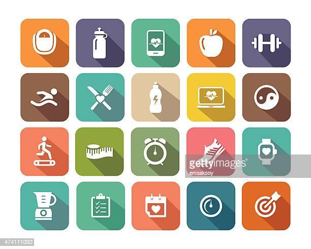 ilustrações, clipart, desenhos animados e ícones de conjunto de ícones plana de ginástica para web e aplicativos móveis - cardiovascular exercise