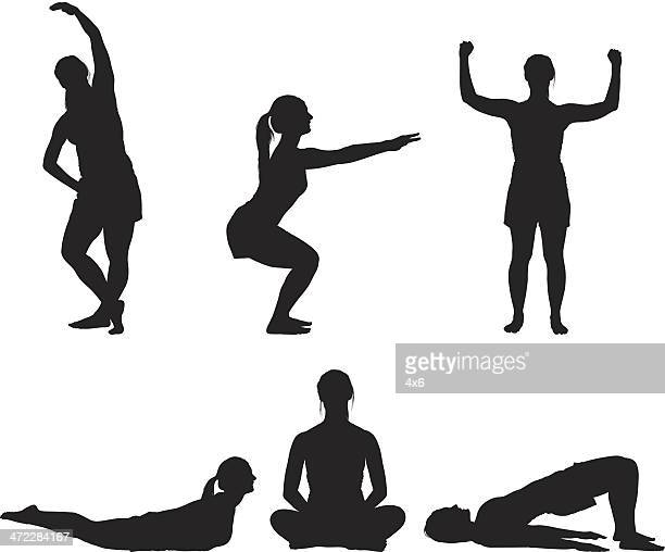 fitness girl doing yoga silhouette - crouching stock illustrations, clip art, cartoons, & icons