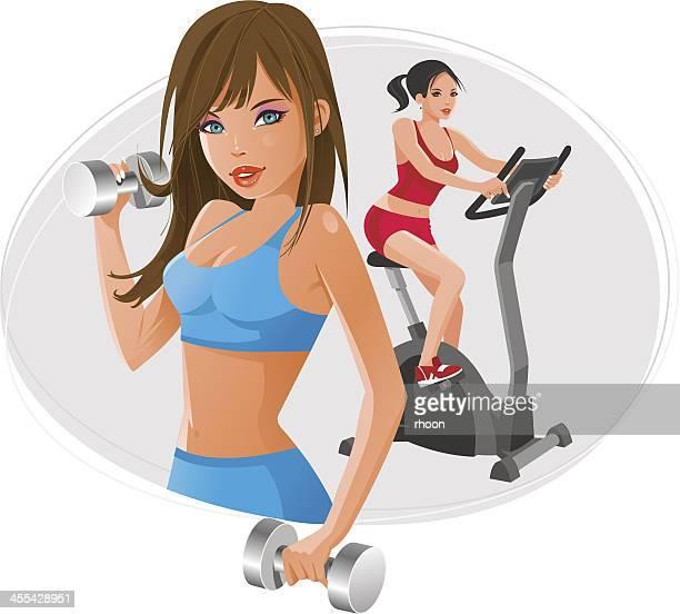 fitness girls - aerobics class stock illustrations, clip art, cartoons, & icons