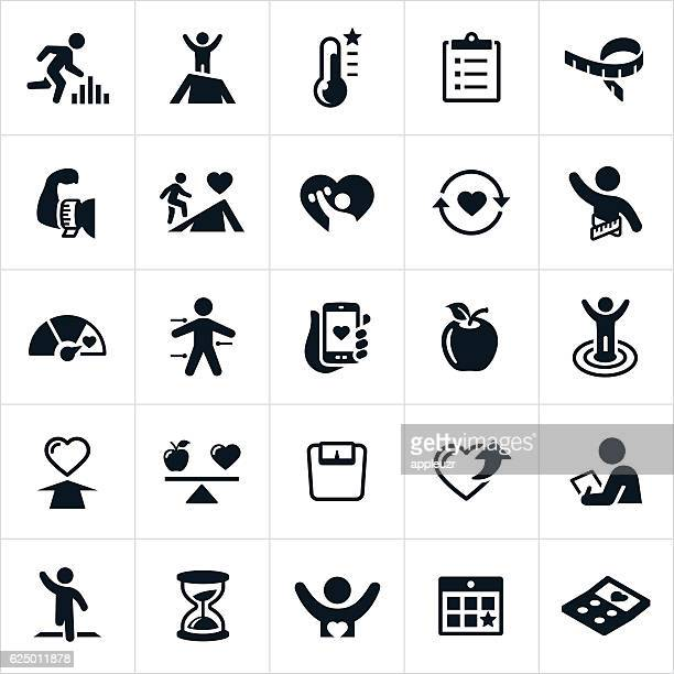 fitness goals icons - dieting stock illustrations, clip art, cartoons, & icons