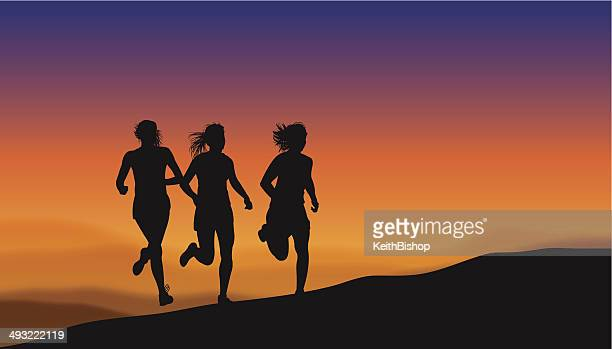 fitness graphic - girls jogging - women's track stock illustrations, clip art, cartoons, & icons