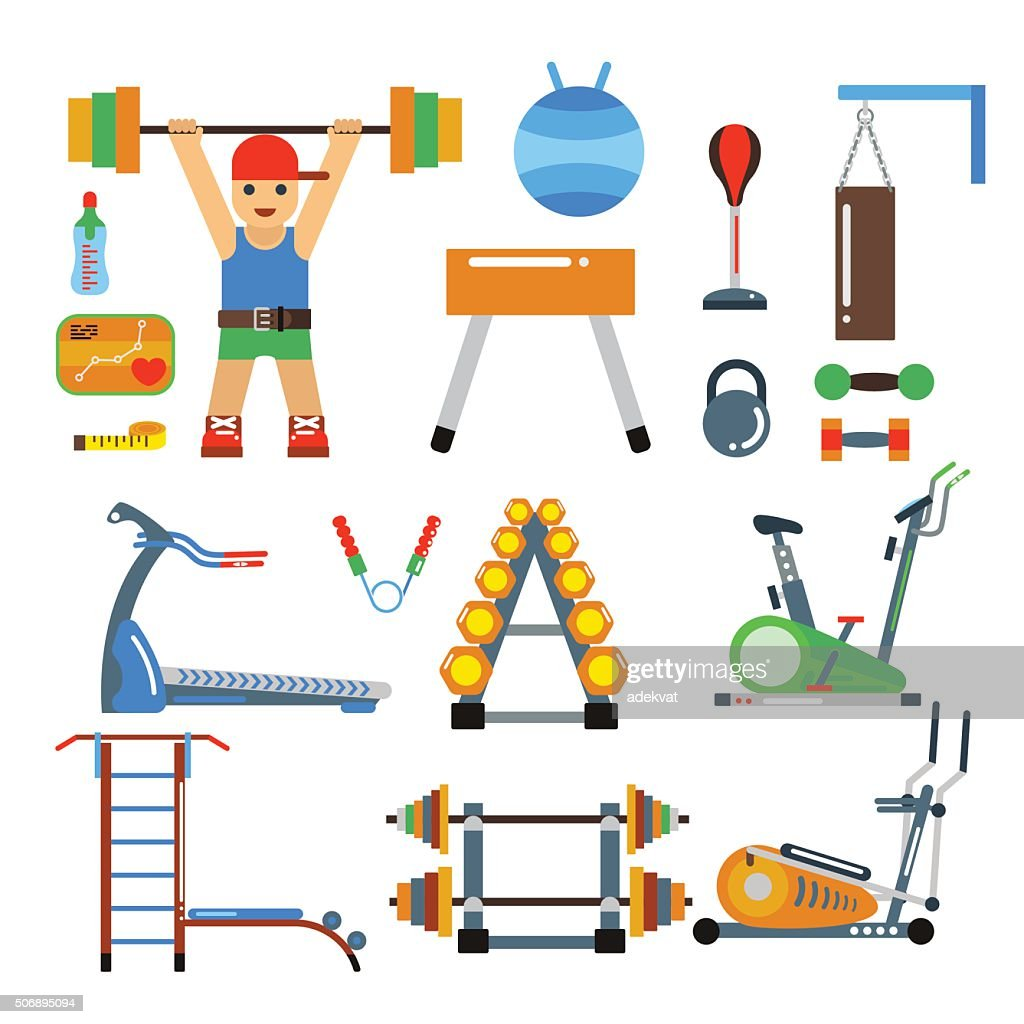 Fitness gym club vector icons. Athlet and sport tools. Sportsman